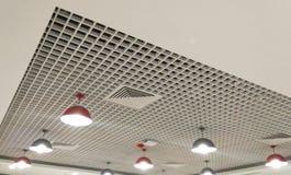 beautiful light set row of designed interior ceiling. stock photos