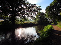 Light and shade. Low autumn sun reflects on the still water of the canal casting long shadows Royalty Free Stock Photos