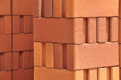 Light and shade of red clay bricks stack. Thailand stock photos