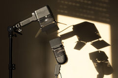 Light and shadow. Video lamps with continuous lighting Royalty Free Stock Photo