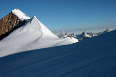 Light and shadow on monte rosa glacier Stock Images