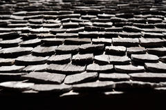 Light and shadow on wood roof shingles Royalty Free Stock Photos