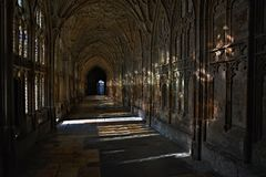 Light and shadows in Gloucester Cathedral. Royalty Free Stock Photos