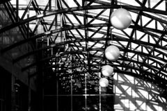 Light and shadow under the roof dome royalty free stock photography