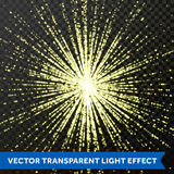 Light shine glitering rays or beams glitter light effect on transparent background Stock Photos