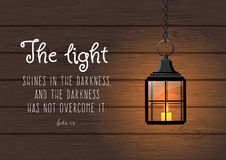The light shines in the darkness... Biblical quote. The light shines in the darkness, and the darkness has not overcome it. Biblical quote. Vintage shining royalty free illustration