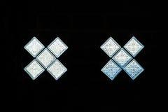 Light shines through the glass block wall Stock Image