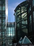 Light shining through Citibank building in Long Island City NY. November 2018 royalty free stock photo