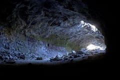 Light Shining Inside Lava Tube Cave Stock Images