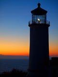Light Shining in the North Head Lighthouse. On the Washington Coast at Sunset Stock Image
