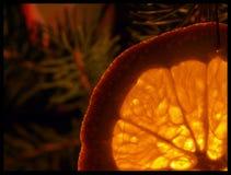 Light shining through orange pleasing. Orange to orange Christmas tree through which the light Royalty Free Stock Photography