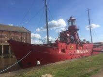 A light ship with a blue sky. Gloucester docks light ship Royalty Free Stock Image