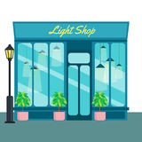 Light shop and store, front icon flat style. Vector illustration Royalty Free Stock Photography