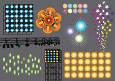 Light Show. Vector set with various lights and spots Royalty Free Stock Images