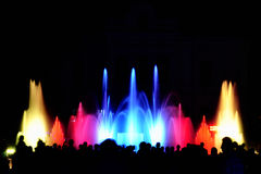 Light show. At water fountain and crowd of people stock image