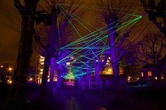 Light show at the Amsterdam light festival Royalty Free Stock Photos