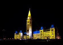 Light show on the Canadian House of Parliament Stock Images