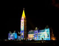 Light show on the Canadian House of Parliament Royalty Free Stock Photography
