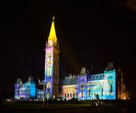 Light show on the Canadian House of Parliament Stock Photos