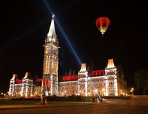 Light show on the Canadian House of Parliament Royalty Free Stock Photos