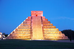 Light show on Chichen Itza, Mexico. Night light show on Chichen Itza, Mexico, one of the New Seven Wonders of the World Royalty Free Stock Image