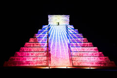 Light show on Chichen Itza, Mexico Stock Image