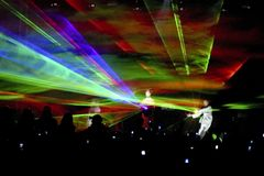 Light show during concert Royalty Free Stock Photo