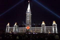 Light show displayed against Canada's Parliament Buildings Stock Photos