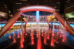 Light show at the Fountain of Wealth, it is the famous place in Royalty Free Stock Photography