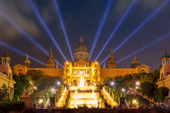 Light show and fountains, Placa Espanya, Barcelona royalty free stock image