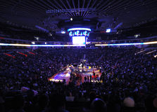 Light show goes on during Warriors intro Royalty Free Stock Image