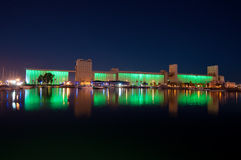 Light Show on Grain Silos in Qiuebec's Old Port Stock Photos