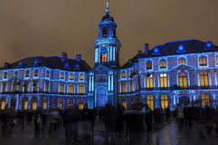 Light show on Hotel de ville in Rennes, France Stock Photo