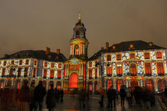 Light show on Hotel de ville in Rennes, France.  Royalty Free Stock Images