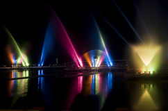 Light Show on a lake. Water dance show at night. Water and light were used in this show to create movement and a spectacular show royalty free stock photography