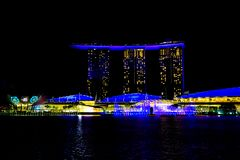 Light show on Marina Bay Sands Hotel, Singapore. Light show at night, laser show, Singapore. Light show on Marina Bay Sands Hotel, Singapore stock photography