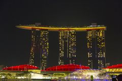 Light show at Marina Bay in Singapore Stock Images