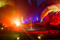 Light show in night park in Bad Pyrmont Royalty Free Stock Photo