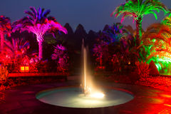Light show in a night park in Bad Pyrmont Stock Photo