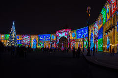 Light show on Palace square Royalty Free Stock Photos