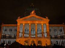 Light Show `Rendesz-vous Bundesplatz`, Bern, Switzerland Royalty Free Stock Photo