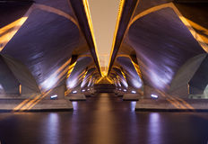 Light show and shadow of under Esplanade Bridge, Singapore. royalty free stock photo