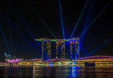 Light show at Singapore Marina Bay Sands Royalty Free Stock Image