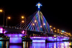 Light Show at Song Han Bridge. Song Han Bridge across the Han River in the city of Danang lit up by lights. The Song Han Bridge was built by the people of Da royalty free stock photography
