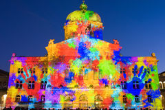 Light show on Swiss government building Stock Image