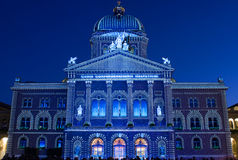 Light show on Swiss government building Royalty Free Stock Photography