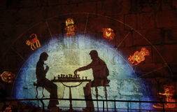The Light show at the Tower of David Royalty Free Stock Photos