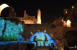 The Light show at the Tower of David. The Sound and Light show at the Tower of David, Jerusalem is well-named and truly a spectacular telling about the entire royalty free stock photography