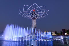Light show at Tree of Life 03, EXPO 2015 Milan Royalty Free Stock Images