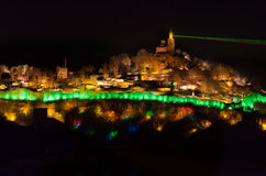 Light show on Tzarevetz fortress in Bulgaria. Sound and Light Show on Tsarevets Hill, Veliko Tarnovo, Bulgaria. The show happens only during the night Royalty Free Stock Photo